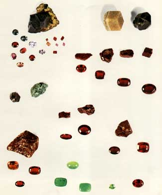Various faceted garnets