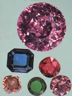 Various examples of faceted spinel