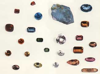 Topaz crystals and cut stones